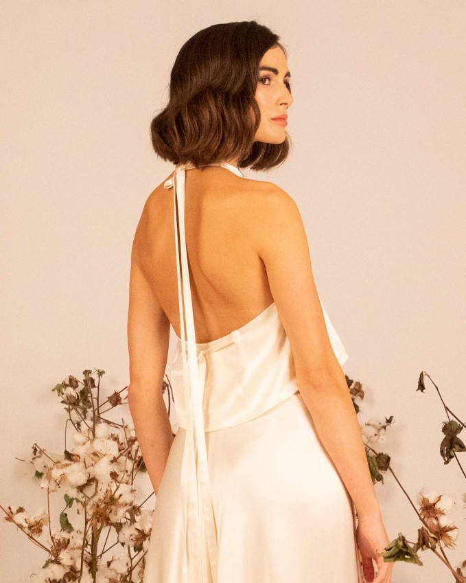 Silk bridal crop top HELENE