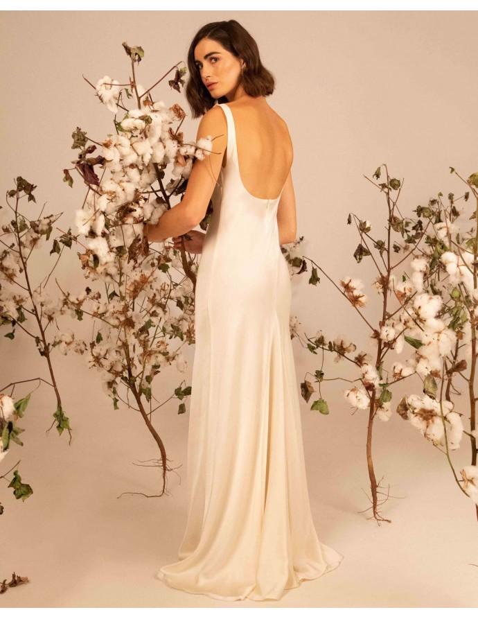 Silk minimal wedding dress KALLISTO