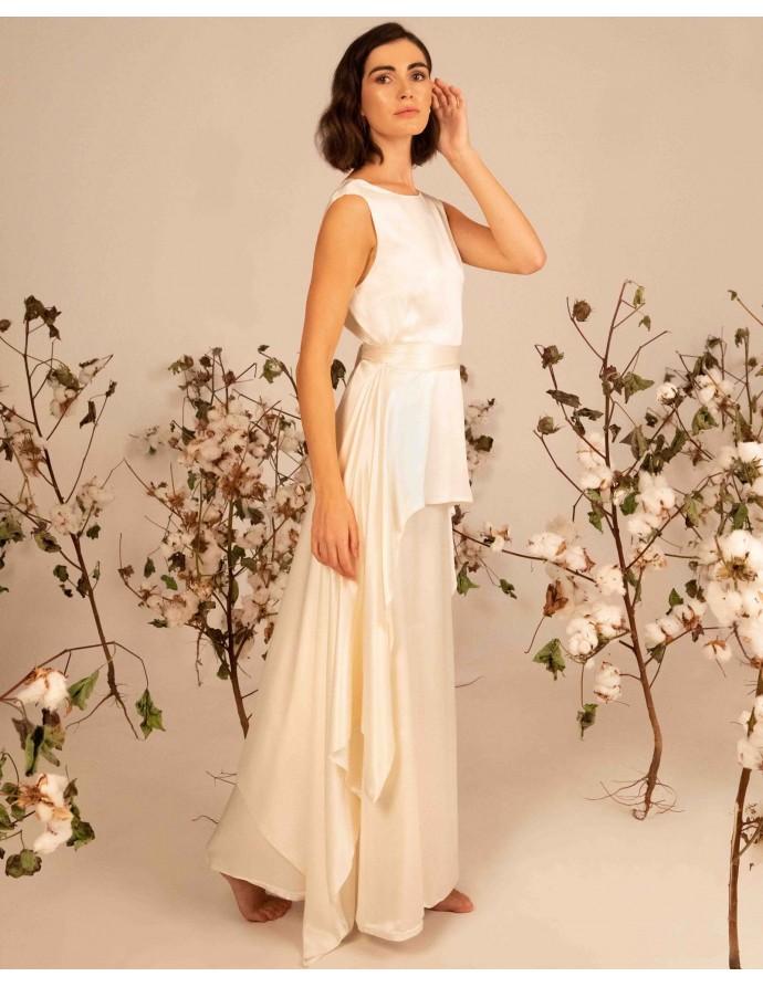 Silk white bridal skirt DEMETER